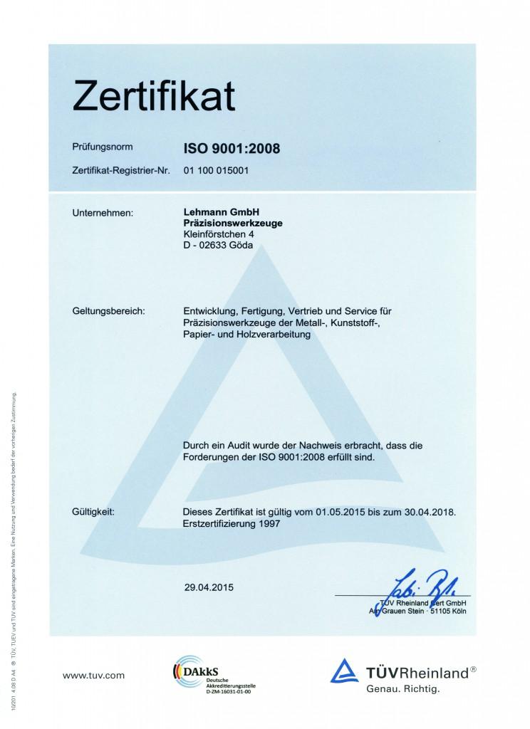 Zertifikat deutsch 2015 - 2018